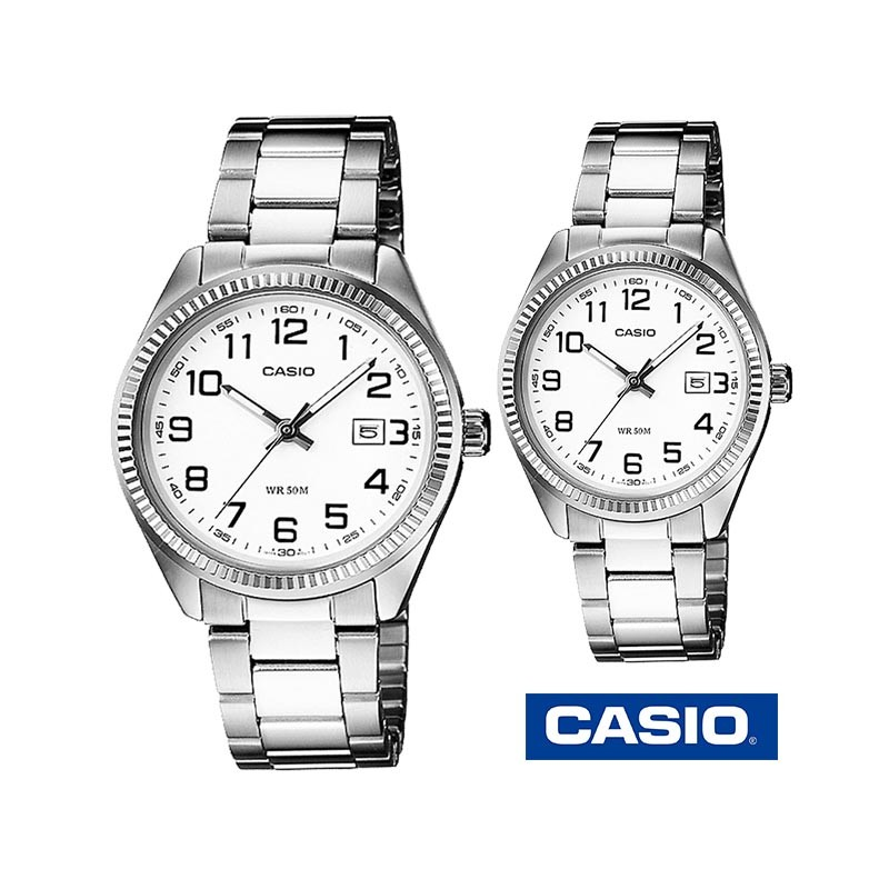 2895a0885ea6 Reloj CASIO 1302D-7B metálico plateado original mujer y hombre
