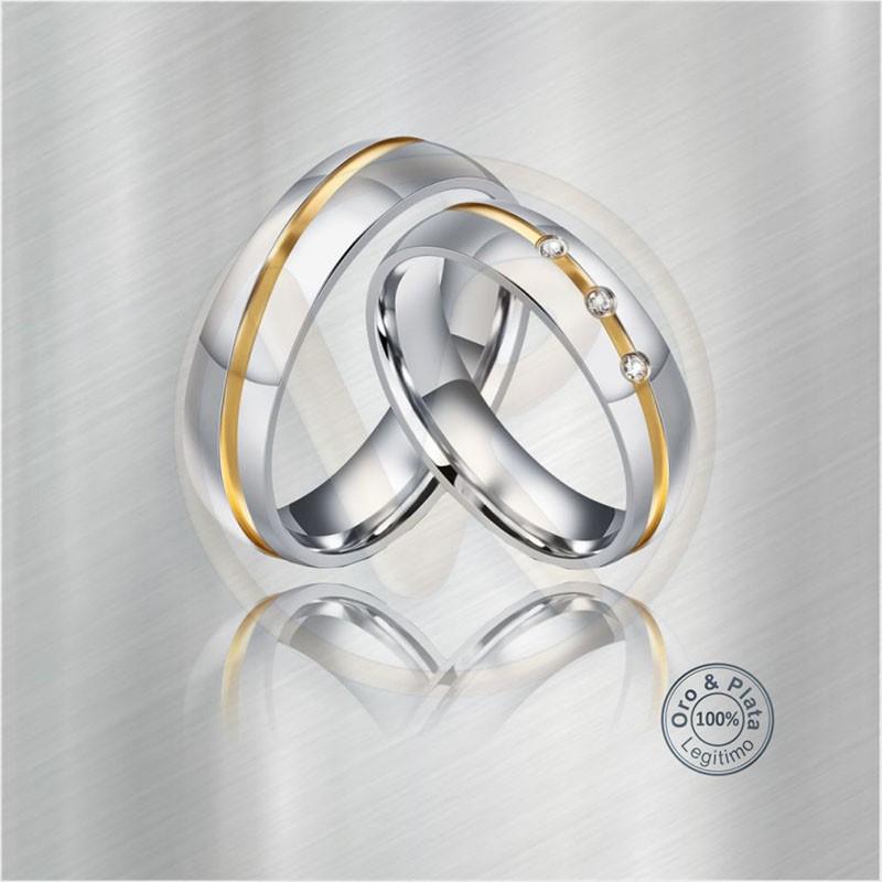 10673b214121 Argollas Aries Matrimonio compromiso Oro Plata Zircón o Diamante ...