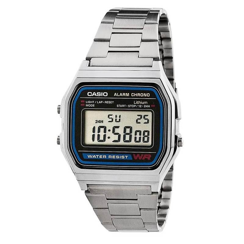 21a93a2872df Reloj CASIO retro metálico original A158WA-1DF para mujer y para hombre