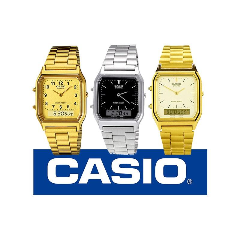 de6afc79468c Reloj CASIO retro metálico original AQ230 para mujer y para hombre