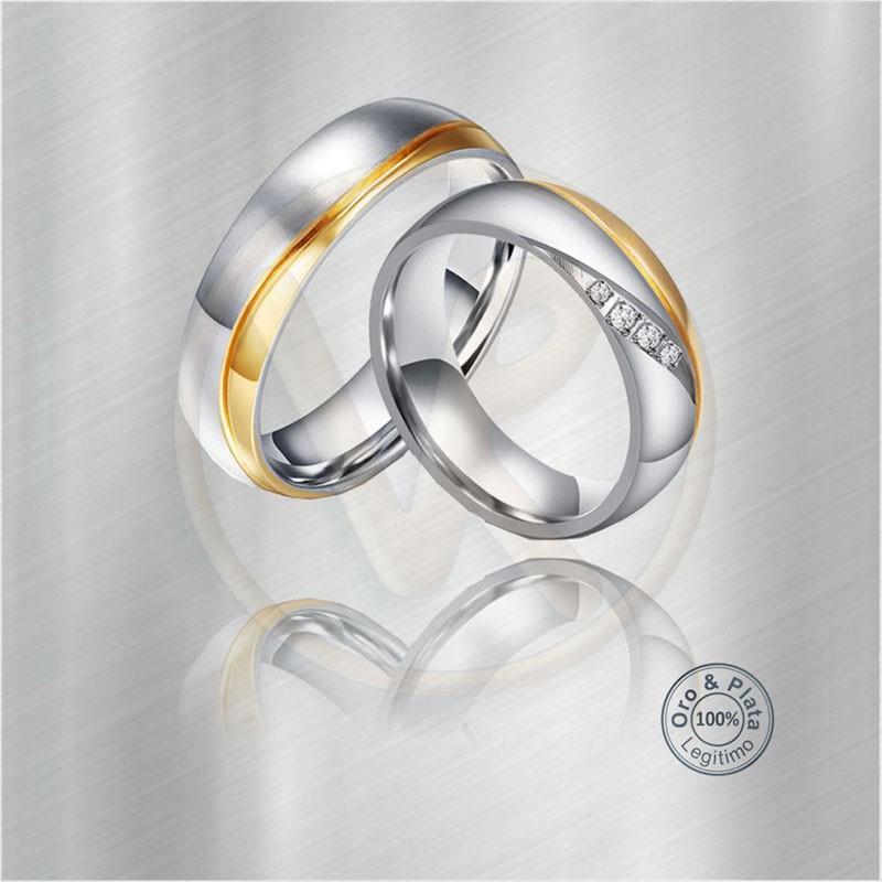 dd05b2fc48e1 Argollas Altar marimonio compromiso oro plata Zircón o Diamante para ...