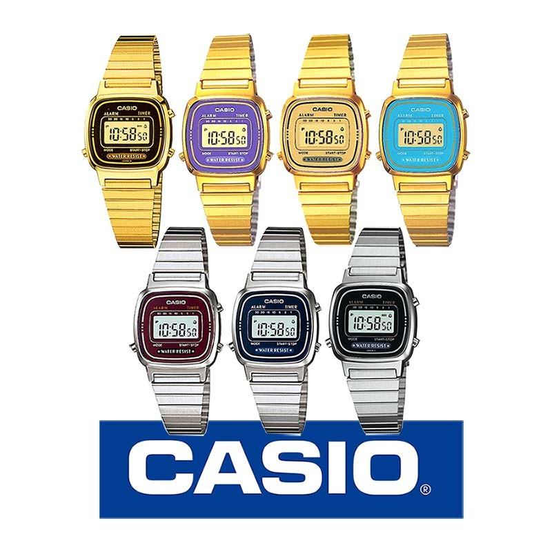 57de36f153e5 Reloj CASIO LA670W retro para mujer y jovencitas metálico original
